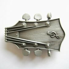 NEW ELECTRIC GUITAR HEADSTOCK MUSIC SILVER COLOR BELT BUCKLE