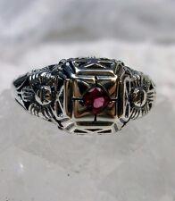 Edwardian *Ruby/Red* Sterling Silver Floral Garden Wedding Filigree Ring Size: 7
