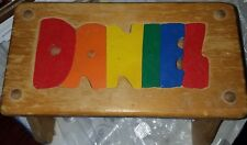 Hand Made Pine Childrens Stool Puzzle Carved name Daniel Unique Toy/ Stool