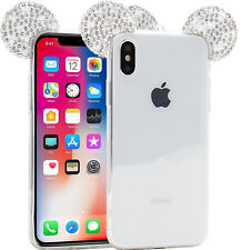 For iPhone X - Silver Diamond Bling Minnie Mouse Ears TPU Rubber Skin Case Cover