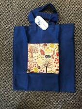 Tote Bag, hand made dark blue, wildlife theme including hedgehogs - New
