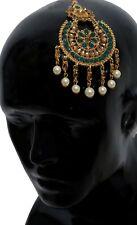 Indian Pakistani Bollywood Wedding Gold Green Pearl Head Jhoomar Passa Jewelry