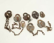 Lot of 8 Vintage 1950s Railroad Switch Padlocks Small & Large 2 with Keys Adlake
