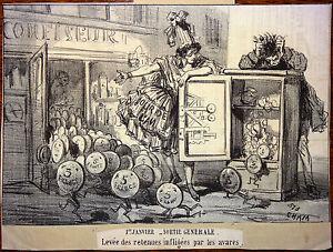 CHAM Lithographie Le Charivari Caricature XIXe Premier jour de l'An