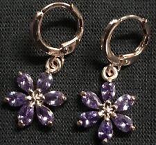 Stunning Purple Like Amethyst Crystal Rose Gold tone Fashion Drop Earrings