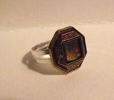 Bague réglable bouton ancien couleur bronze  adjustable ring button vintage