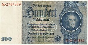 Germany-Third Reich,100 Reichsmark Banknote 24.6.1935 Very Fine Conditio,P#183-A