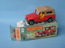 Lesney Matchbox Superfast 53 CJ6 Jeep Red Body Boxed CJ6 Jeep Base