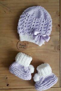 Neue LILIAC/Neugeborene Hand gestrickte Baby Set Mütze und Booties