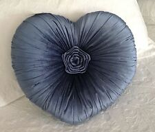 Shabby Chic French Country Cushion Throw Pillow Blue Velvet Heart