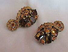 "Rare Swirly  1-1/4"" Signed Hollycraft Goldtone Amber Rhinestone Clip Earrings"