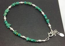 Turquoise gemstone fine beaded bracelet, Solid Sterling Silver, new. UK seller.
