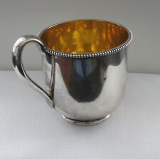 "**RARE**1850""s  Tiffany Coin Silver Gold Washed  Baby Cup w Gold Wash Interior"