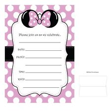 Minnie Bow Polka Dot - Pink Invitation Cards w/Envelopes - Quantity 12