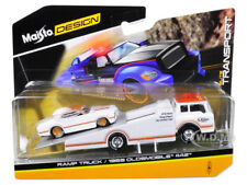 1969 OLDSMOBILE 442 WHITE & RAMP TOW TRUCK 1/64 DIECAST MODELS BY MAISTO 15055 B