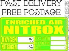 EAN Enriched Air Cylinder Sticker Divers Cylinder Sticker Nitrox Mix
