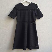 $95 NWT Topshop Sz 8 Bandage Embroidered Skater Dress Short Sleeve BLACK