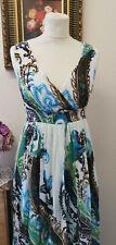 KUSHI WOMEN'S MAXI SUMMER DRESS MULTI FLORAL BOHO SLEEVELESS LONG COTTON SIZE 10