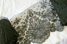 19th Century French Black Chantilly Lace/2.5 & 3metres