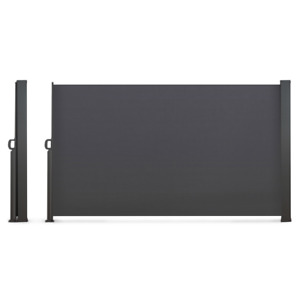 Paravent extérieur rétractable 400 x 160 cm gris anthracite store latéral
