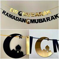 Ramadan Mubarak Kareem Eid Mubarak Bunting Banner Decorations Gold Crescent Moon