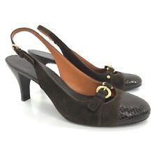 COLE HAAN Womens Size 8 AA Narrow Trista Slingback Suede Snakeskin Buckle Heels