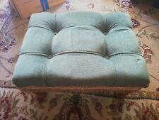 Vintage Green Draylon Button Tassel Fringe Footstool