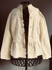 J Jill Women's 100% Cotton Ruffle Blazer Size S Jacket Pale Butter Yellow EUC
