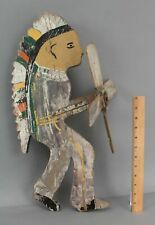 Antique Western Folk Art Carved Painted WoodNative American Indian Whirligig NR