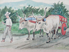 Vintage Watercolor Farmers Water Buffalo Cart with Costa Rica Irazu Volcano View
