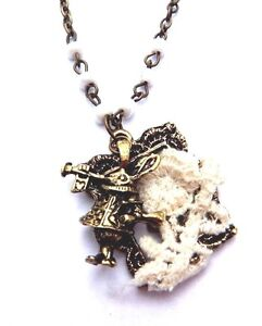 WHITE RABBIT Alice in Wonderland lace bronze pendant beaded chain necklace A6