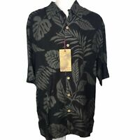 Jamaica Jaxx Silk Hawaiian Shirt button Down Short Sleeve Palm Men's Medium New