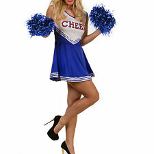 High School Cheering Squad Uniform Glee Cheerleader Blue Fancy Dress w/ 2 Pompom