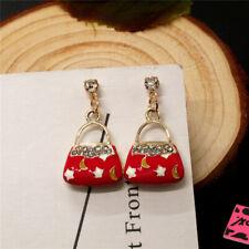 Betsey Johnson Red Enamel Lovely Handbag Star Crystal Women Stand Earrings