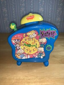 Nickelodeon Rugrats Talking Alarm Clock 1998 RARE WORKS Tommy Angelica VTG 90s