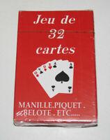 Jeux de 32 Cartes Classiques 9 X 6 cm Rouges NEUF Playing Crads