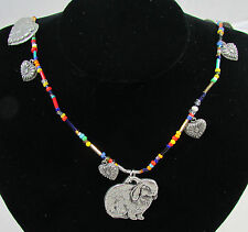 Vintage Bunny Rabbit Hearts Pewter Jewelry With Multi Color Beads Necklace