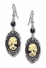 Gothic Lolita Skull Cameo Ivory Black Silver Finish Frame Dangle Earrings-1047IB