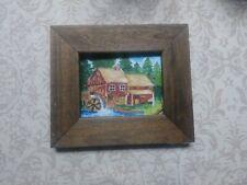 Folk Art Miniature Painting Drawing Vintage Framed Mill Primitive Landscape