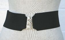 """3"""" Wide Stretch Elastic Cinch Belt Silver Clasp Buckle Choice of Color Made USA"""