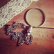Vintage Style Shiny Silver Monocle Magnifying Glass Pendant & Pocket Chain