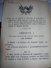 REGIO DECRETO 1887 BRESCELLO BAGNOLO IN PIANO CAMPEGGINE CADEBOSCO CORREGGIO