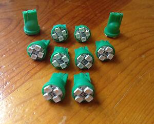 10 Green For Nissan *SUPER BRIGHT 12V LED Wedge Instrument Panel Light Bulbs NOS