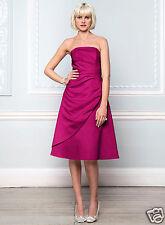 Size 12 16 18 BHS Eve Short Bridesmaid Dress Fuchsia Pink Satin 16