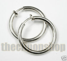 CLIP ON 3cm BIG SILVER hoops HOOP EARRINGS look pierced