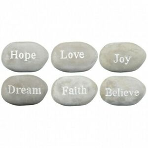 1pce 12cm Cement Inspirational Stone / Pebble, Feel Good, Paperweight, Garden 40