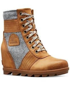 Sorel Lexie Wedge Ankle Boot-Camel Brown/Full Grain Leather-Multiple Sizes.