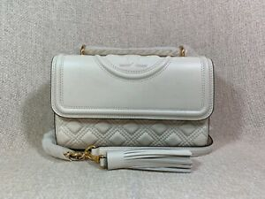 NEW VERSION Tory Burch Ivory Fleming Small Convertible Bag $458