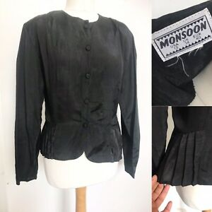 Vintage MONSOON Black Fitted Frill Jacket 12 Gothic Victorian Whitby
