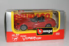 BURAGO DODGE VIPER RT/10, RED, DIECAST METAL WITH PLASTIC PARTS, 1:43 SCALE